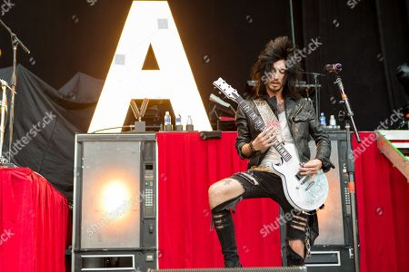 Guitarist Cameron Liddell of Asking Alexandria performs at the Rockstar Energy Drink Mayhem Festival at San Manuel Amphitheater on in San Bernardino, California