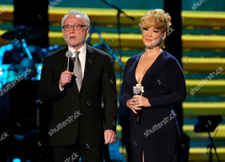 Neil Portnow, president, National Academy of Recording Arts and Sciences, left, and Tessanne Chin speak on stage during the 2014 Soul Train Awards at Orleans Arena, in Las Vegas