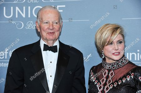 Former U.S. Secretary of State James Baker and Ghada Irani arrive at the 2014 UNICEF Ball on in Beverly Hills, Calif