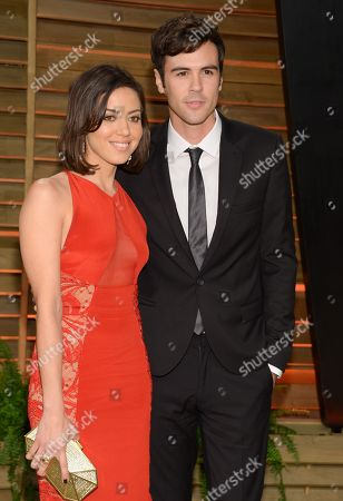 Aubrey Plaza and friend Blake Lee attend the 2014 Vanity Fair Oscar Party, in West Hollywood, Calif