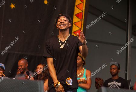 Young Juve performs with Juvenile & Mannie Fresh Together at the New Orleans Jazz & Heritage Festival, on in New Orleans