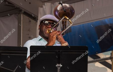 Big Sam performs with Allen Toussaint at the New Orleans Jazz & Heritage Festival, on in New Orleans