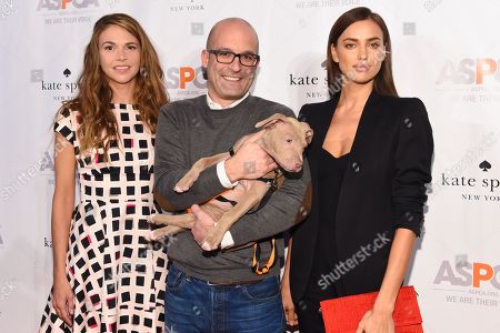 From left, actress Sutton Foster, President/CEO of ASPCA Matthew Bershadker, and model Irina Shayk, and model Irina Shayk attend the ASPCA Young Friends Benefit at the IAC Building, in New York