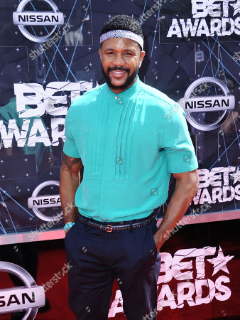 Hosea Chanchez arrives at the BET Awards at the Microsoft Theater, in Los Angeles