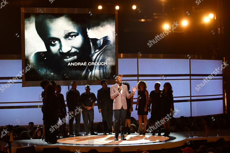 Donnie McClurkin presents an in memoriam tribute to Andrae Crouch at the BET Awards at the Microsoft Theater, in Los Angeles