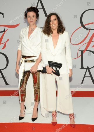 Claire Vivier and Garance Dore arrive at the 2015 CFDA Fashion Awards at Alice Tully Hall, in New York