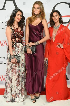 Jodie Snyder, left, Josephine Skriver and Danielle Snyder arrive at the 2015 CFDA Fashion Awards at Alice Tully Hall, in New York