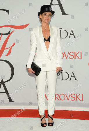 Stock Image of Virginie Promeyrat arrives at the 2015 CFDA Fashion Awards at Alice Tully Hall, in New York