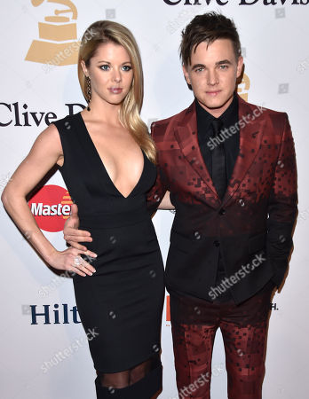 Jesse McCartney, left, and Katie Peterson arrive at the 2015 Clive Davis Pre-Grammy Gala at the Beverly Hilton Hotel, in Beverly Hills, Calif