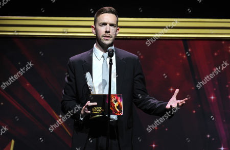 """Henry Hughes, of American Film Institute, accepts the Directing Award for """"Day One"""" at the 36th College Television Awards, presented by the Television Academy Foundation at the Skirball Cultural Center in Los Angeles on"""