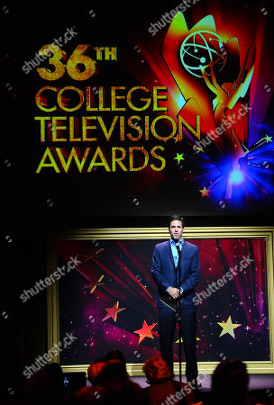 Steve Levitan presents an award at the 36th College Television Awards, presented by the Television Academy Foundation at the Skirball Cultural Center in Los Angeles on