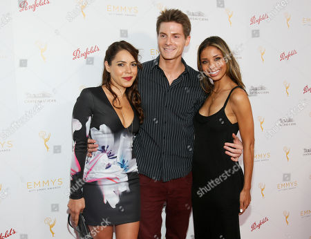 Elena Tovar, from left, Robert Palmer Watkins and Brytni Sarpy seen at the Television Academy's 67th Emmy Daytime Peer Group Celebration at the Montage Beverly Hills on in Beverly Hills, Calif