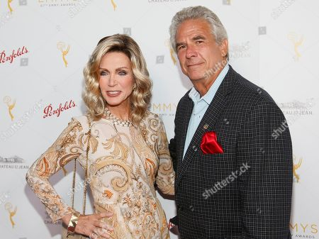 Donna Mills, left and Larry Gilman seen at the Television Academy's 67th Emmy Daytime Peer Group Celebration at the Montage Beverly Hills on in Beverly Hills, Calif