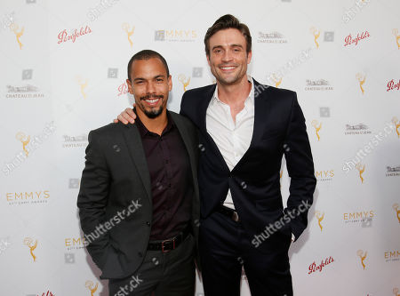 Bryton James, left and Daniel Goddard seen at the Television Academy's 67th Emmy Daytime Peer Group Celebration at the Montage Beverly Hills on in Beverly Hills, Calif