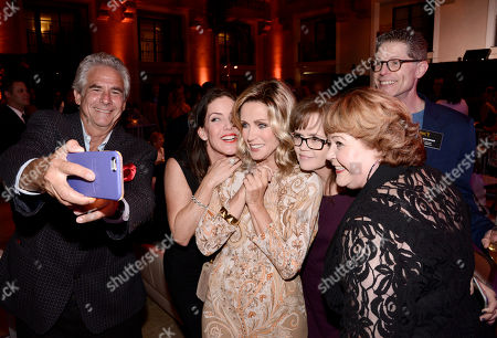 Larry Gilman, from left, Kira Reed Lorsch, Donna Mills, Chrystal Ayers, Patrika Darbo and Bob Bergen seen at the Television Academy's 67th Emmy Daytime Peer Group Celebration at the Montage Beverly Hills on in Beverly Hills, Calif