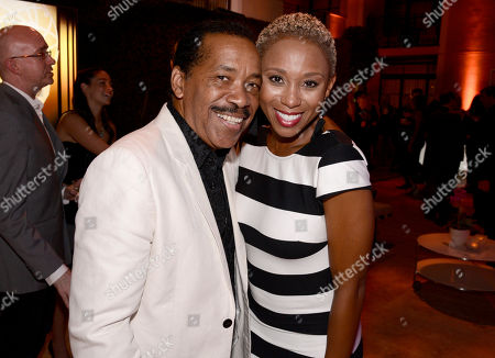 Obba Babatunde, left and Zee James seen at the Television Academy's 67th Emmy Daytime Peer Group Celebration at the Montage Beverly Hills on in Beverly Hills, Calif