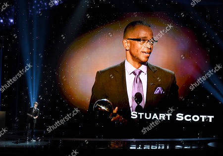 Stock Picture of Nate Ruess performs an In Memoriam tribute at the ESPY Awards at the Microsoft Theater, in Los Angeles. Pictured onscreen is Stuart Scott