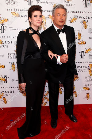 Elizabeth Musmanno, left, and Alec Baldwin, right, attend the Fragrance Foundation Awards at Alice Tully Hall, in New York