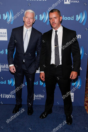 Anderson Cooper, left, and Benjamin Maisani, right, attend the 26th Annual GLAAD Media Awards at the Waldorf Astoria, in New York