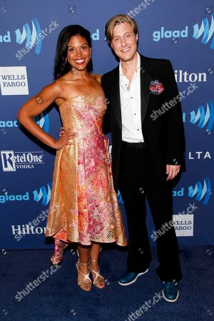 Karla Mosley, left, and Scott Turner Schofield, right, attend the 26th Annual GLAAD Media Awards at the Waldorf Astoria, in New York