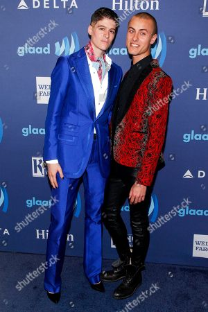 Rain Dove, left, and Cory Wade, right, attend the 26th Annual GLAAD Media Awards at the Waldorf Astoria, in New York