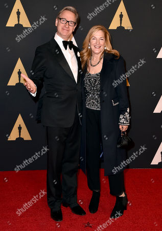 Paul Feig, left, and Laurie Karon arrive at the Governors Awards at the Dolby Ballroom, in Los Angeles