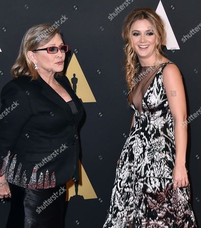 Carrie Fisher, left, and Billie Catherine Lourd arrive at the Governors Awards at the Dolby Ballroom, in Los Angeles