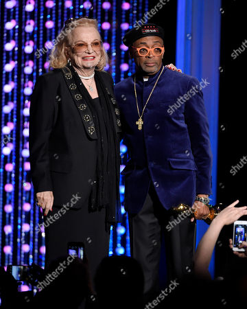 Gena Rowlands, left, and Spike Lee pose onstage with their honorary Oscars at the Governors Awards at the Dolby Ballroom, in Los Angeles