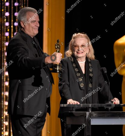 Gena Rowlands, right, accepts an honorary Oscar from her son Nick Cassavetes at the Governors Awards at the Dolby Ballroom, in Los Angeles