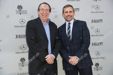 Steve Gaydos, left, and Steve Carell arrive at Varietyâ?™s 10 Directors to Watch and Creative Impact Awards at the Parker Palm Springs, in Palm Springs, Calif
