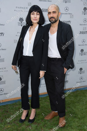 Ronit Elkabetz, left and Shlomi Elkabetz, right, arrive at Variety's 10 Directors to Watch and Creative Impact Awards Presented by Mercedes-Benz at the Parker Palm Springs on ], in Palm Springs, Calif