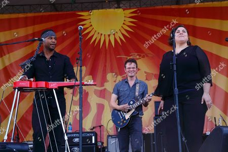 Robert Randolph, Luther Dickinson, special guest Jennifer Hartswick (left to right) and The Word performs at the New Orleans Jazz & Heritage Festival, in New Orleans, Louisiana