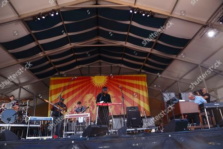 Cody Dickinson, Chris Chew, Robert Randolph, Luther Dickinson, John Medeski (left to right) of The Word performs at the New Orleans Jazz & Heritage Festival, in New Orleans, Louisiana