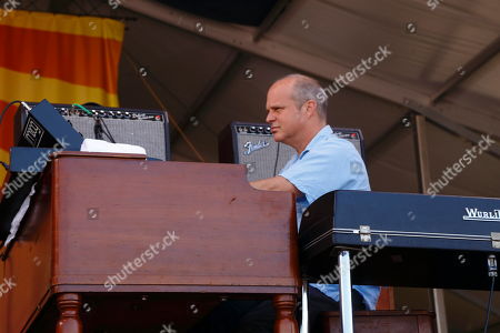 John Medeski and The Word performs at the New Orleans Jazz & Heritage Festival, in New Orleans, Louisiana