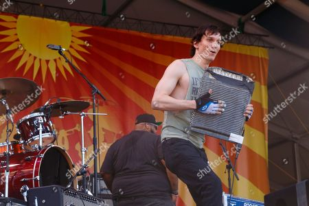Cody Dickinson and The Word performs at the New Orleans Jazz & Heritage Festival, in New Orleans, Louisiana