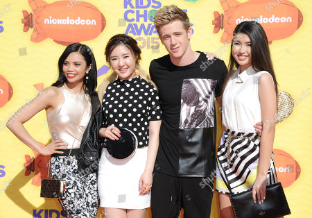 Louriza Tronco, and from left, Megan Lee, Dale Whibley, and Erika Tham arrive at Nickelodeon's 28th annual Kids' Choice Awards at The Forum, in Inglewood, Calif