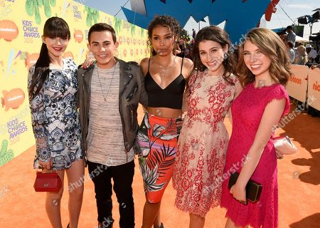 Stock Picture of Elizabeth Elias, from left, Tyler Alvarez, Denisea Wilson, Zoey Burger, and Autumn Wendel arrive at Nickelodeon's 28th annual Kids' Choice Awards at The Forum, in Inglewood, Calif