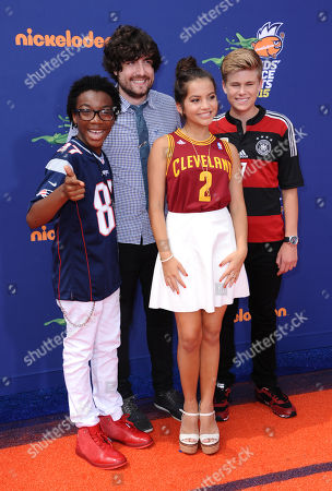 Jaheem Toombs, and from left, Isabela Moner, Jack De Sena and Owen Joyner arrive at the 2015 Kids' Choice Sports Awards at Pauley Pavilion on in Los Angeles