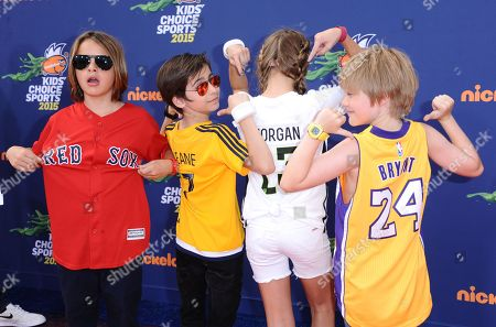 Mace Coronel, and from left, Aidan Gallagher, Lizzy Greene, Casey Simpson arrive at the 2015 Kids' Choice Sports Awards at Pauley Pavilion on in Los Angeles