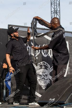 """Tracy """"Lil-Ice"""" Marrow Jr., left, and Vincent Price of Body Count perform on stage during Day 1 of the 2015 Knotfest USA at San Manuel Amphitheater on in San Bernardino, Calif"""