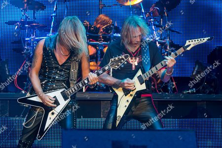 Richie Faulkner, left, and Glenn Tipton of Judas Priest perform on stage during Day 1 of the 2015 Knotfest USA at San Manuel Amphitheater on in San Bernardino, Calif