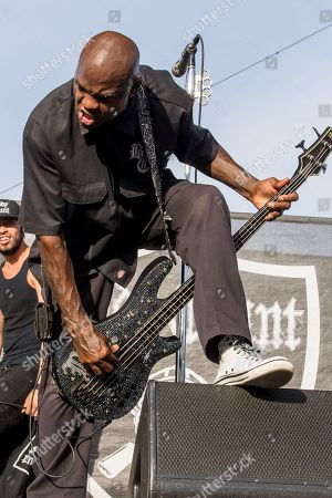 Vincent Price of Body Count performs on stage during Day 1 of the 2015 Knotfest USA at San Manuel Amphitheater on in San Bernardino, Calif