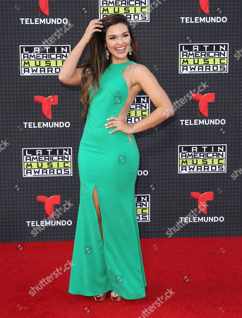 Estefany Oliveira arrives at the Latin American Music Awards at the Dolby Theatre, in Los Angeles