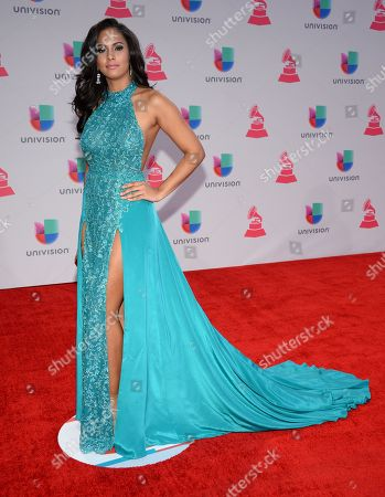 Stock Photo of Miss New York Tatiana Diaz arrives at the 16th annual Latin Grammy Awards at the MGM Grand Garden Arena, in Las Vegas