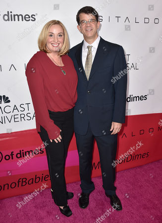 Event co-chairs Mary Kerr, left, and Wyck Godfrey arrive at the March of Dimes Celebration of Babies honoring Jessica Alba at the Beverly Wilshire hotel, in Beverly Hills, Calif