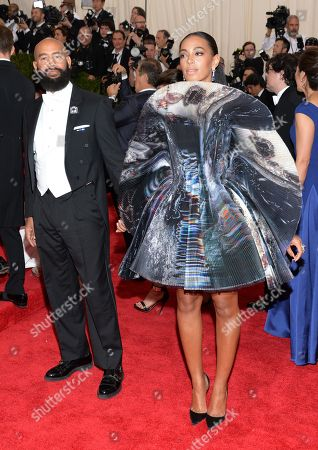 "Alan Ferguson, left, and Solange Knowles arrive at The Metropolitan Museum of Art's Costume Institute benefit gala celebrating ""China: Through the Looking Glass"", in New York"