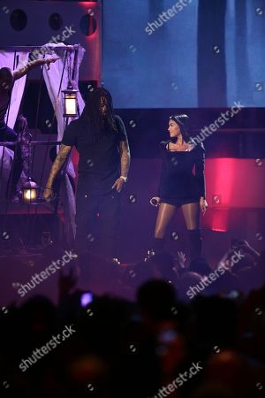 Waka Flocka and Mia Martina seen at the 2015 Much Music Video Awards at the Much Music HQ, in Toronto, Canada