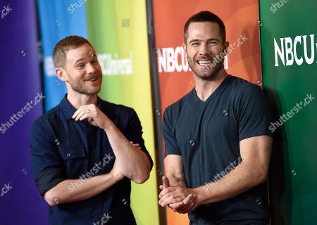 Aaron Ashmore, left, and Luke Macfarlane arrive at the NBC Universal Summer Press Day at The Langham Huntington Hotel, in Pasadena, Calif