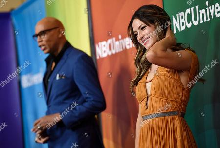 RuPaul, left, and Sandra Vergara arrive at the NBC Universal Summer Press Day at The Langham Huntington Hotel, in Pasadena, Calif