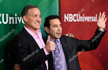Stock Picture of Dr. Terry J. Dubrow, left, and Dr. Paul Nassif arrive at the NBC Universal Summer Press Day at The Langham Huntington Hotel, in Pasadena, Calif